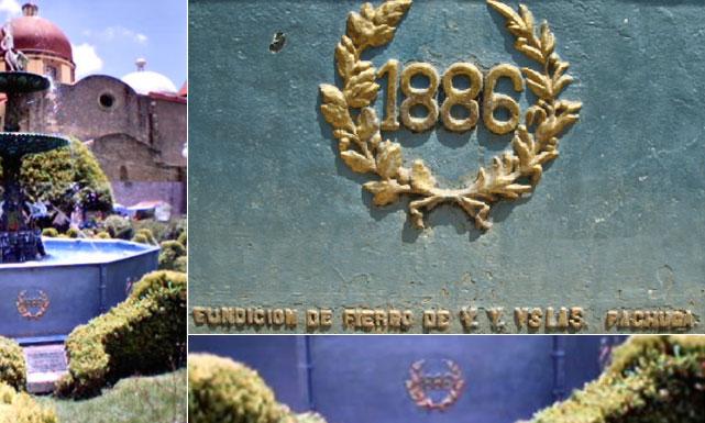 Inscripción abajo de la fuente de hierro de El Chico, Hgo. donde se aprecia que fue fundida en la pachuqueña empresa de Don Vicente Ygnacio Islas en el año de 1886.